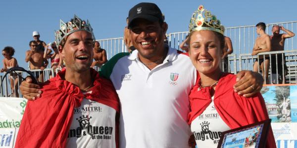 Il ct della nazionale maschile Paulao con Gianluca Casadei e Laura Giombini