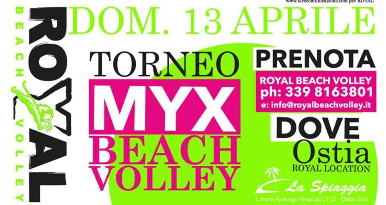 """Domenica 13 a """"La Spiaggia"""" di Ostia il 1° Torneo misto Royal Beach Volley mYx"""
