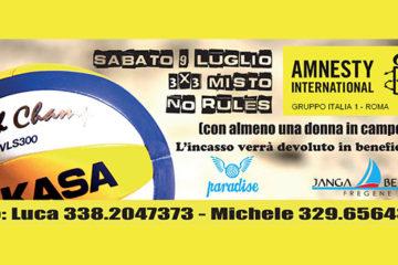 Sabato 9 luglio a Fregene il primo torneo Amnesty International 3X3 Misto