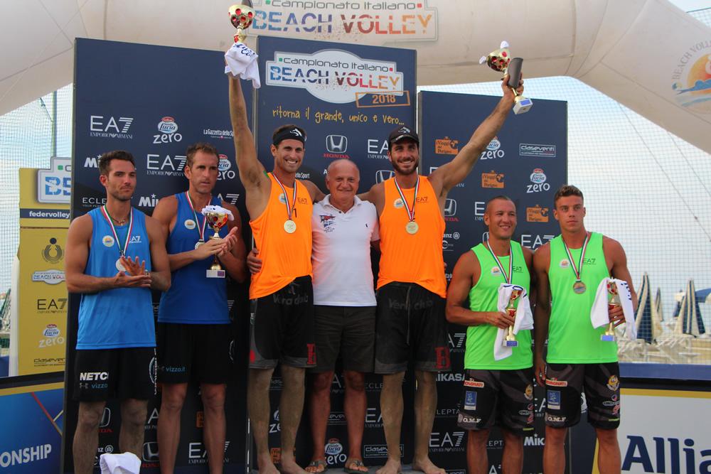 podio maschile beach volley cervia 2018